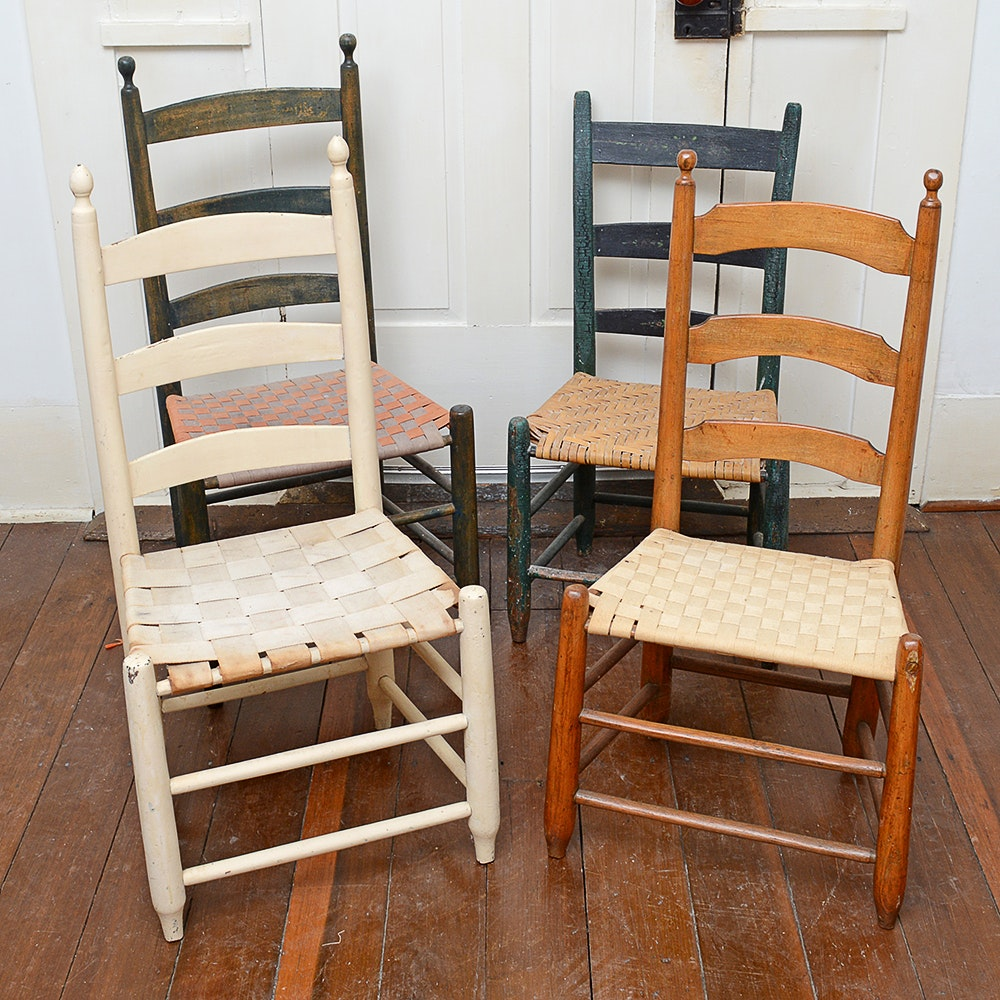 Antique Ladderback Wooden Chairs