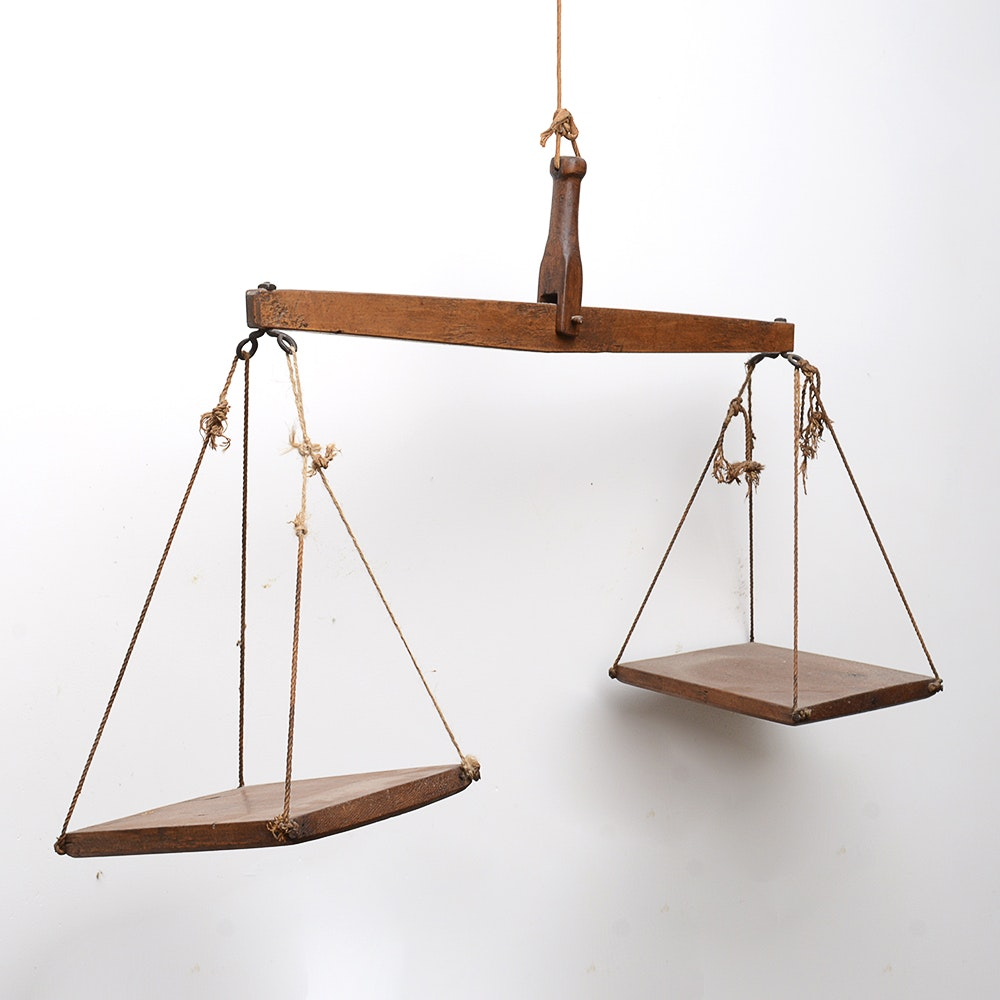 Antique Wooden Hanging Balance Scale