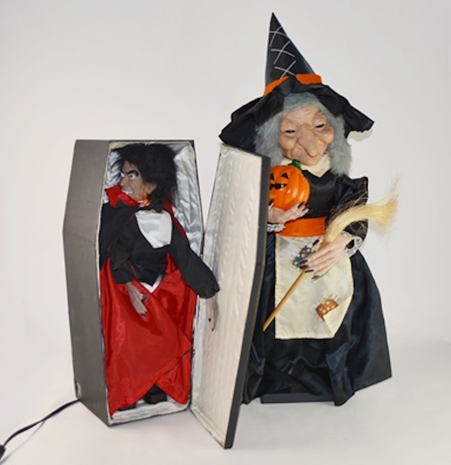 halloween decorations vampire coffin and motionette illuminated witch - Vampire Halloween Decorations
