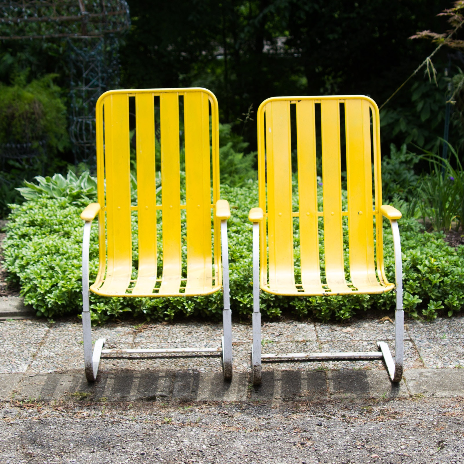 Vintage Spring-Base Patio Armchairs