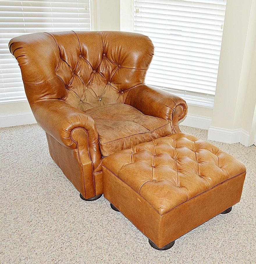 Restoration Hardware Leather Chair: Restoration Hardware Leather Wing Chair And Ottoman : EBTH