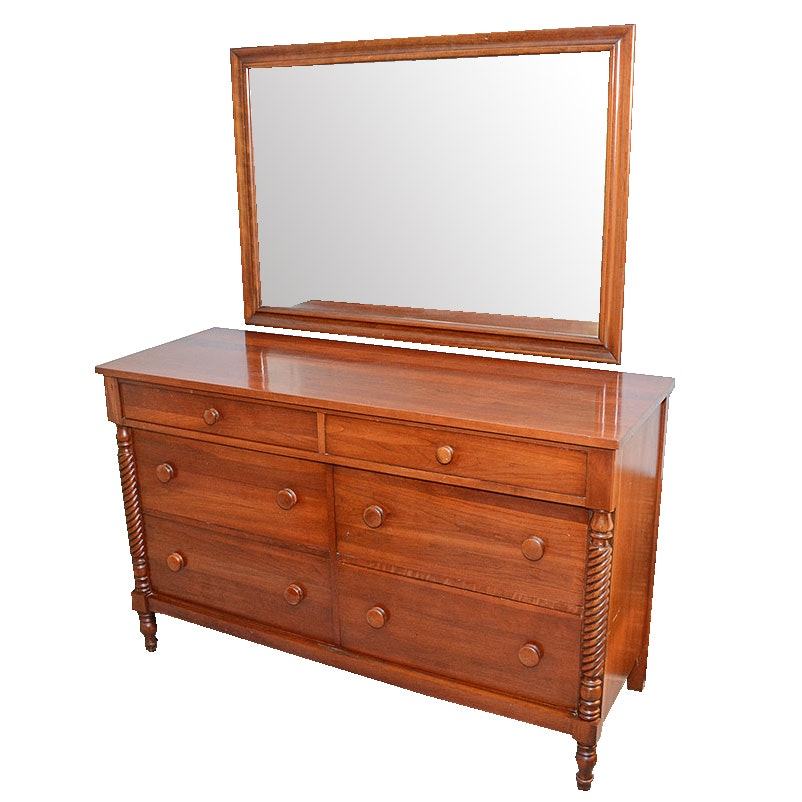 Sheraton Style Cherry Dresser With Mirror