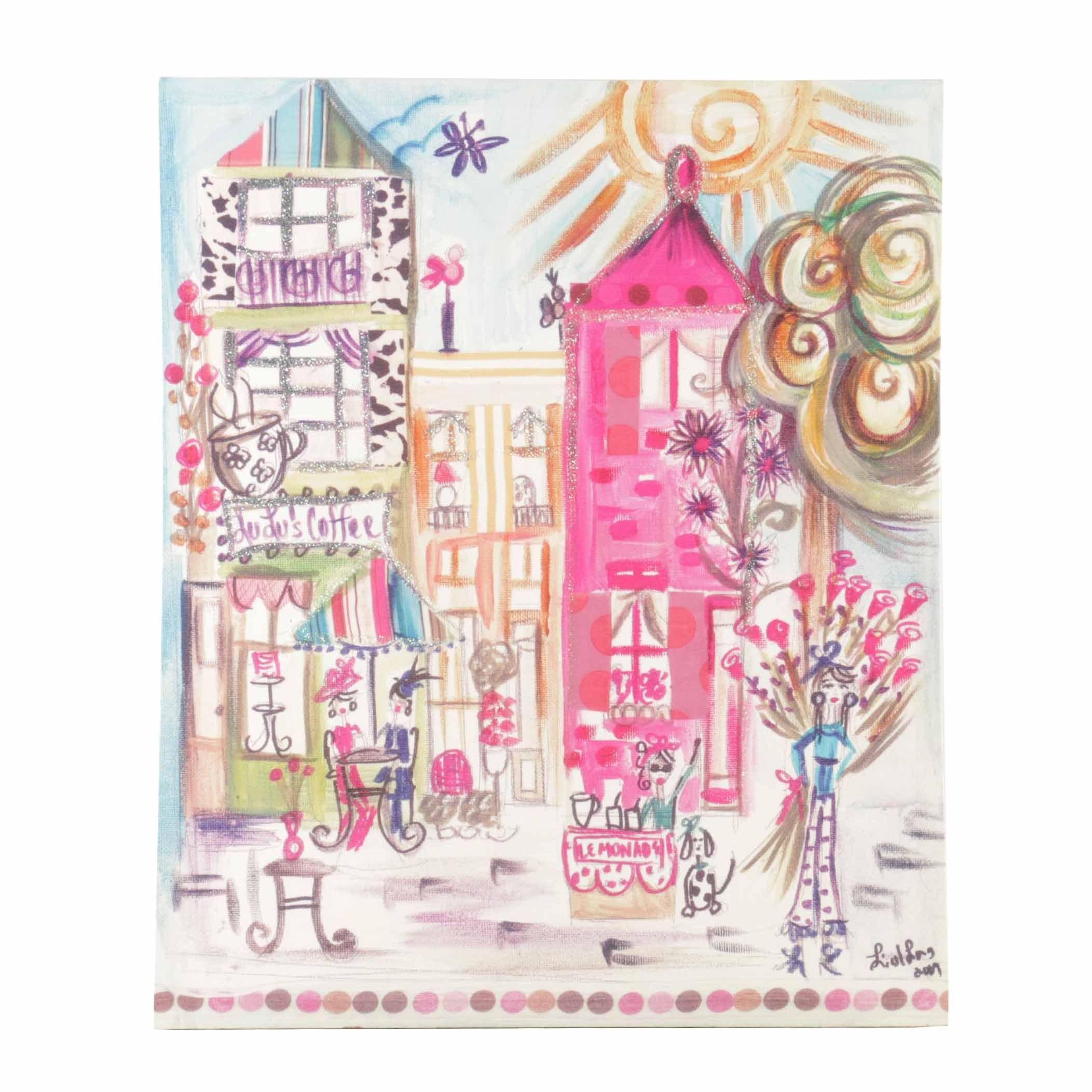 "Colleen Karis Giclée on Canvas ""Glamour City Cafes"""
