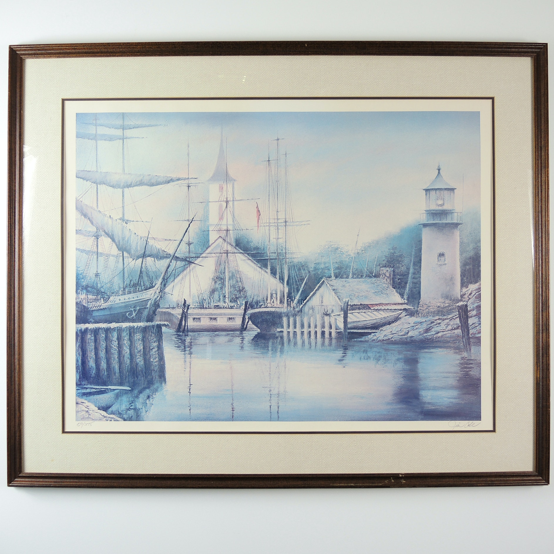 """Maine Harbor"" Signed Limited Edition Print After Jim Cole"