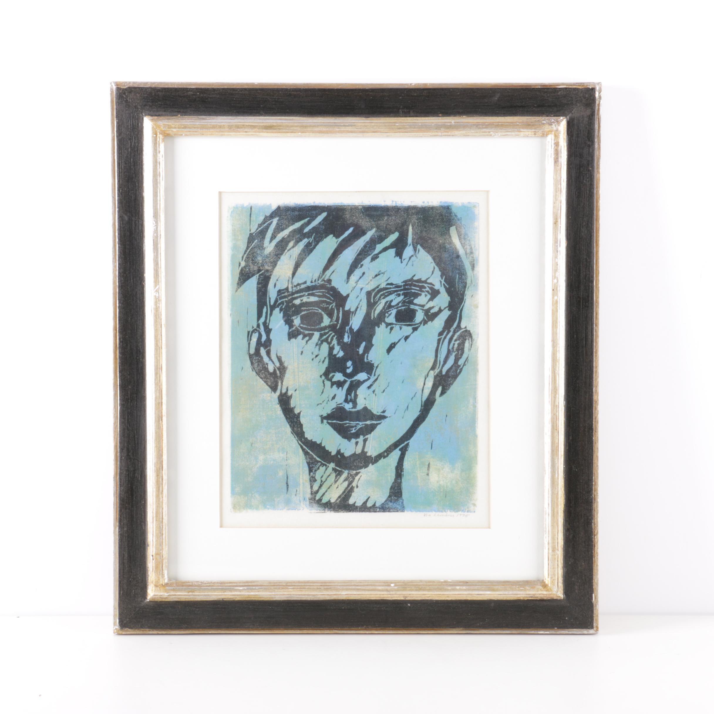1995 Via Lambros Woodblock Print of a Young Face