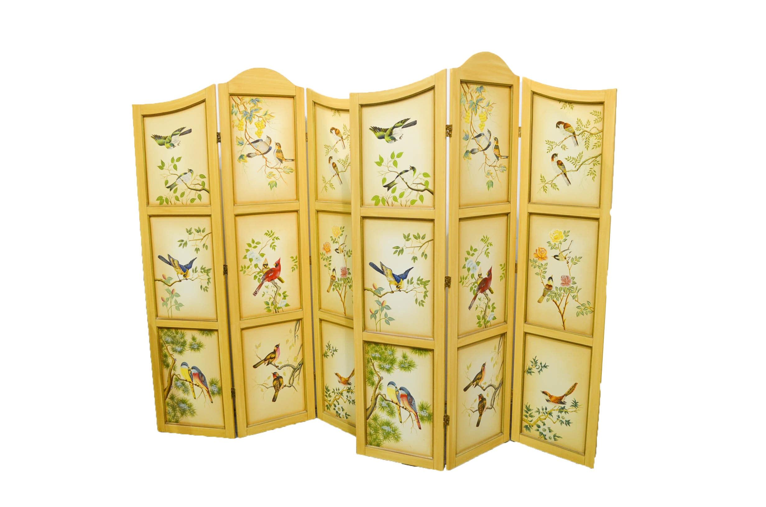 Bird Decorated Room Divider