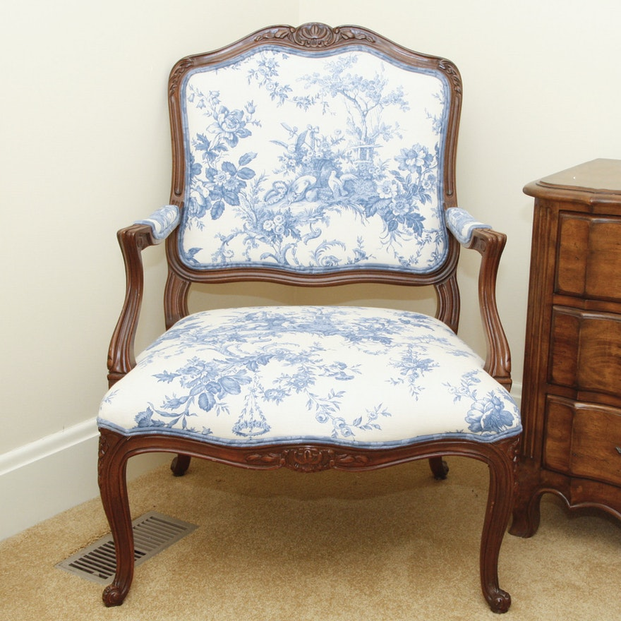 Phenomenal French Blue And White Toile Fabric Fauteuil Chair Machost Co Dining Chair Design Ideas Machostcouk