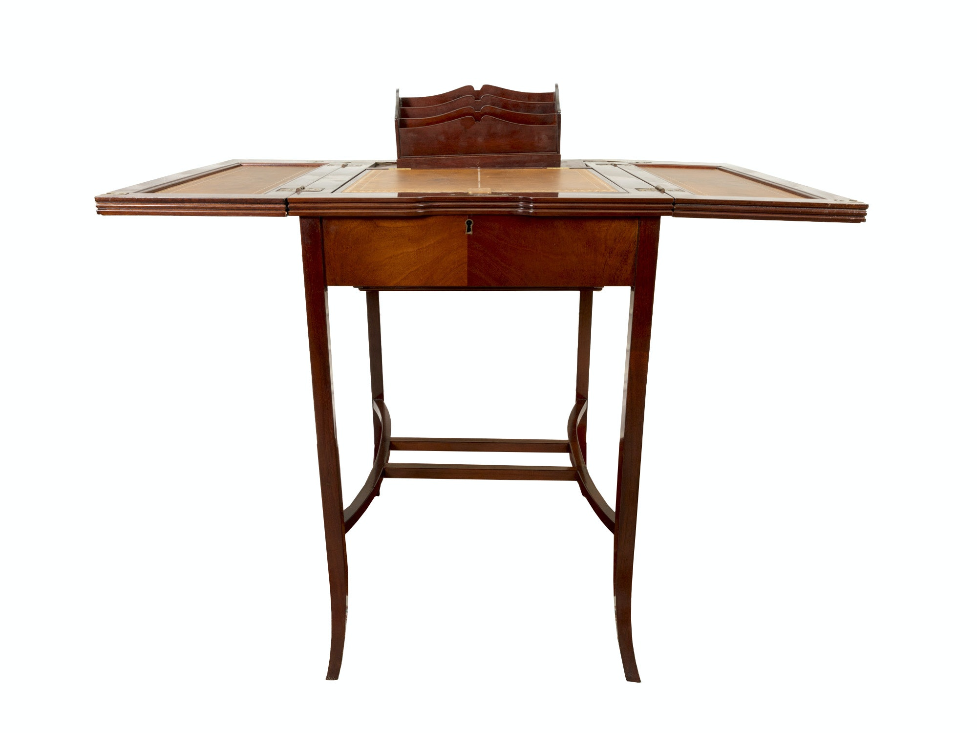Flip-Top Mahogany Secretary Desk With Leather Panels