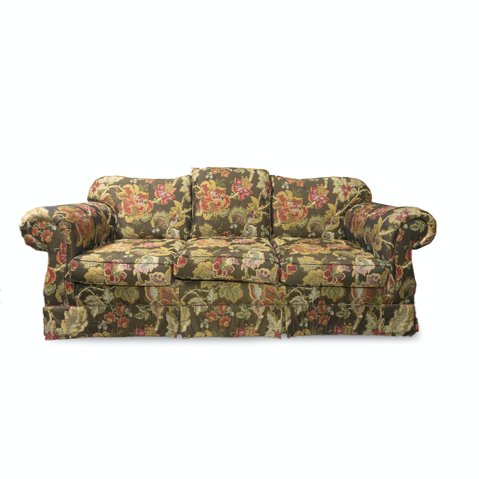 Green Floral Sofa by Sherrill Furniture