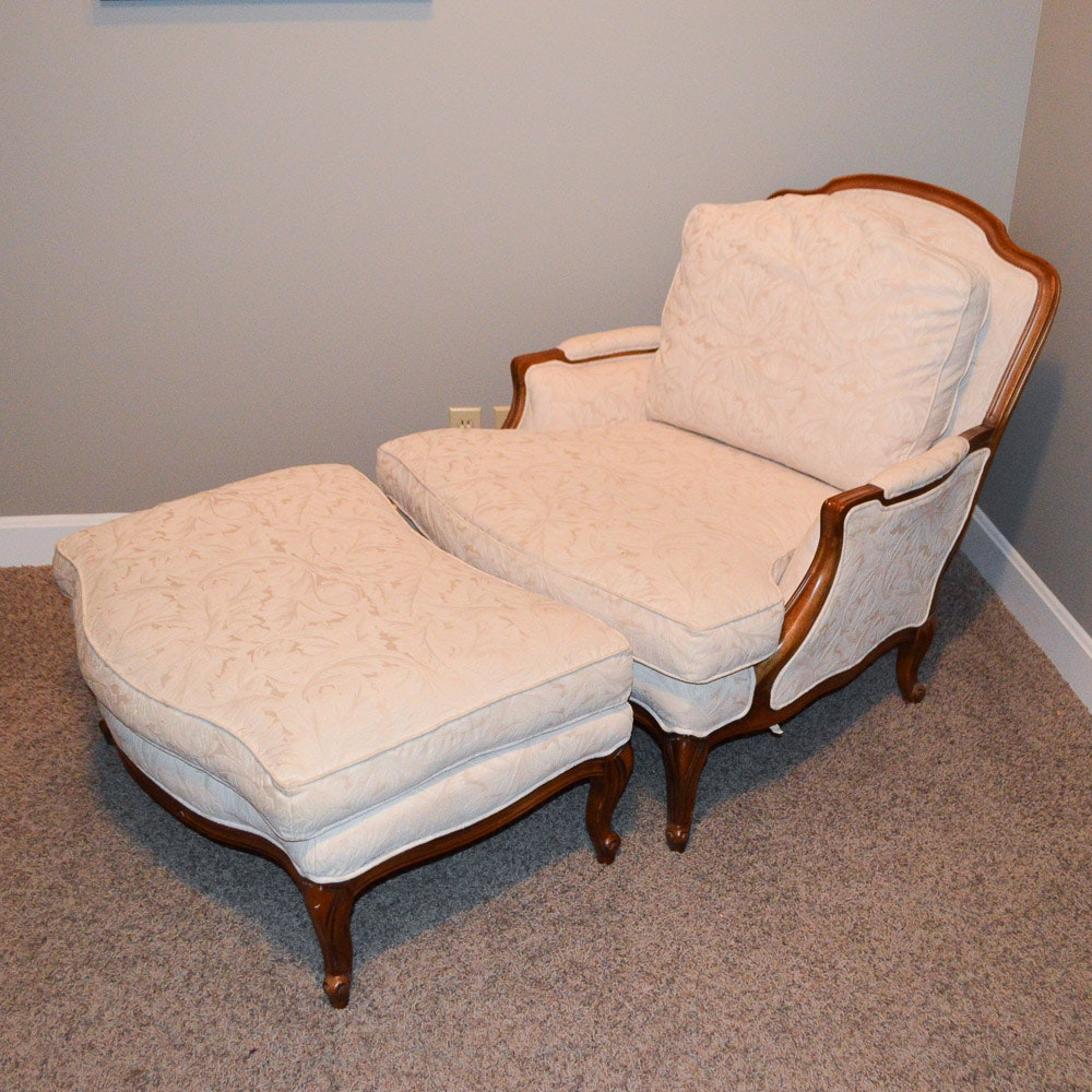 Upholstered Bergère Style Armchair and Ottoman