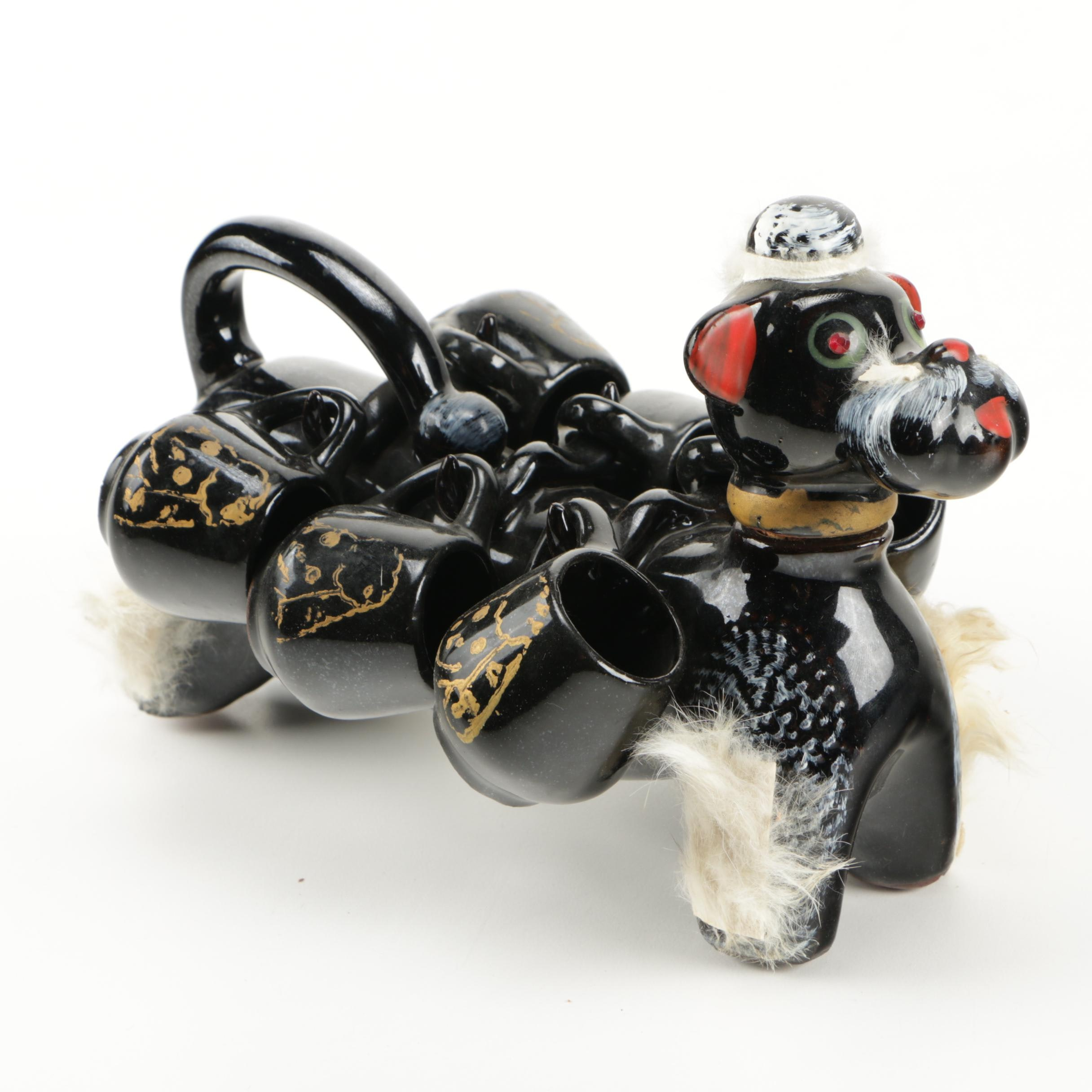 Japanese Black Ceramic Dog Tea Set