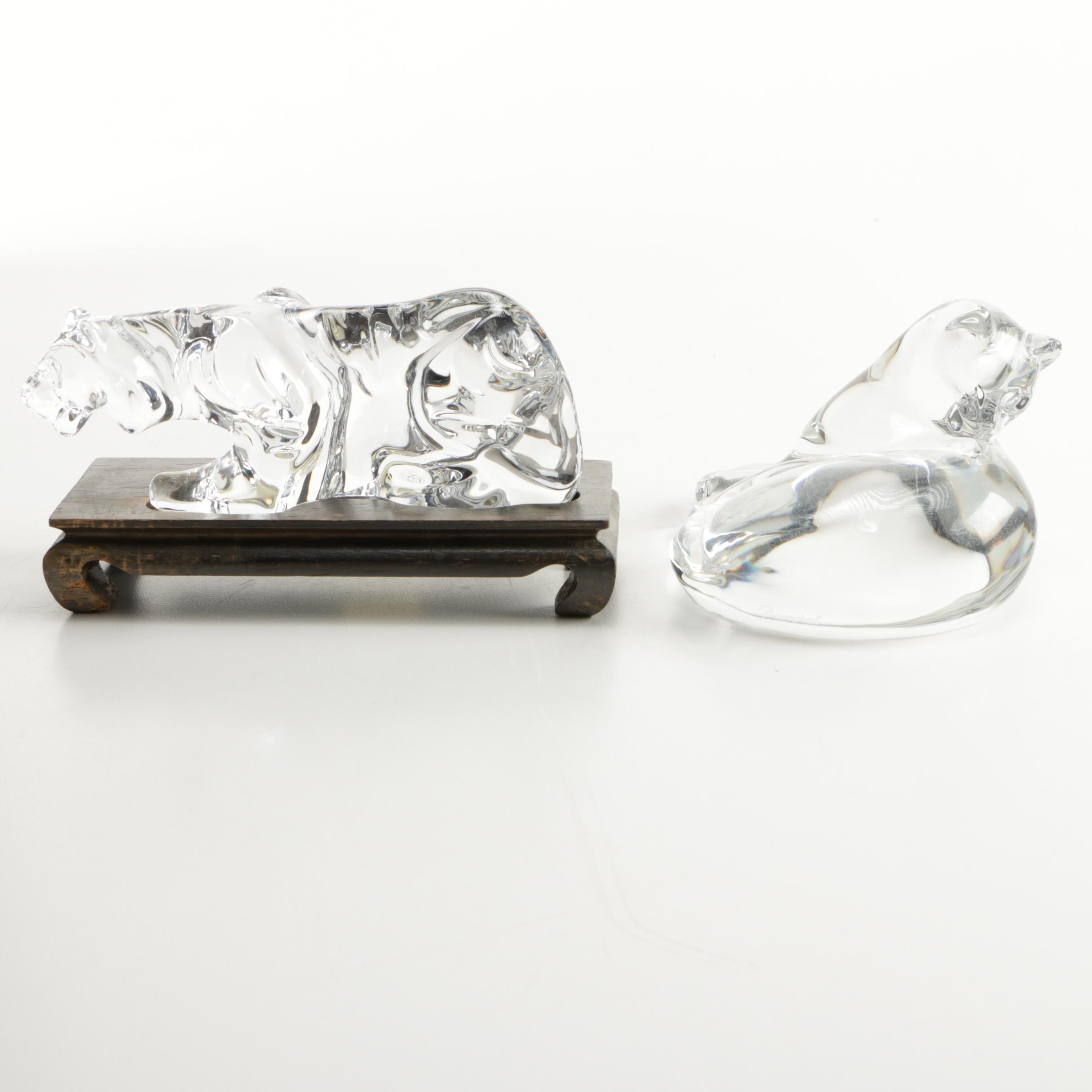 Baccarat Crystal Cat and Tiger Figurines