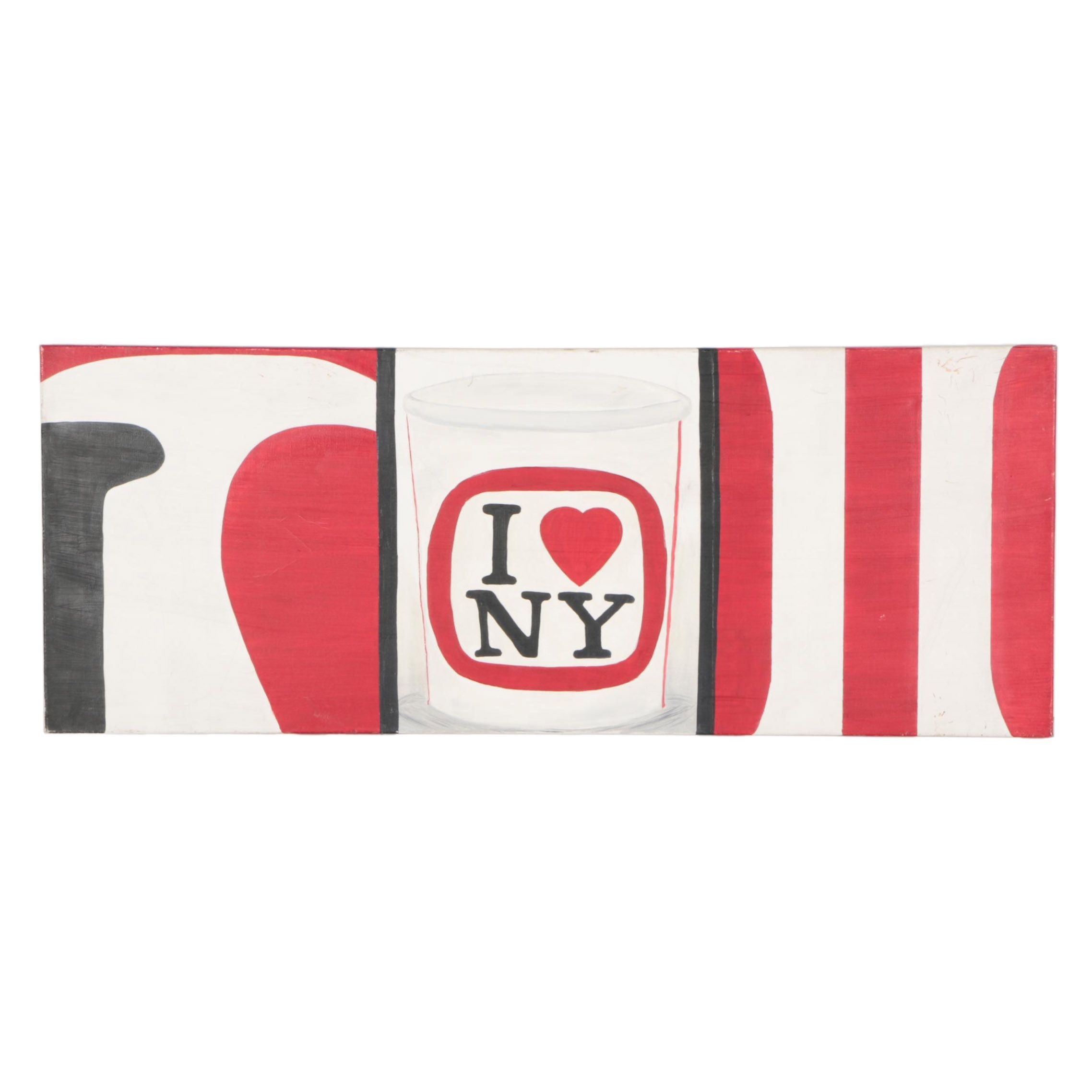 """Oil on Canvas """"I heart New York"""" Painting"""