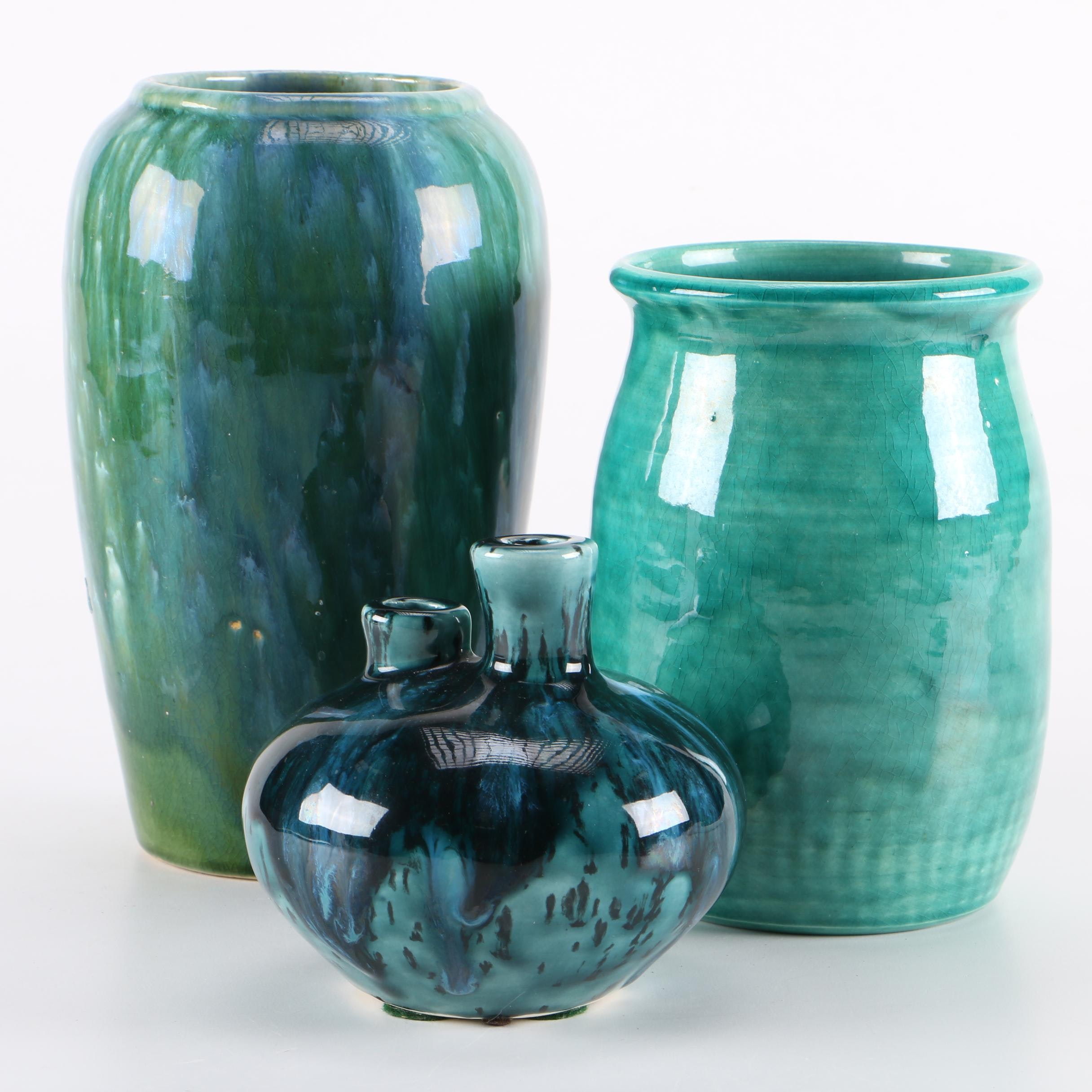 Green Glaze Art Pottery Including Signed Pieces