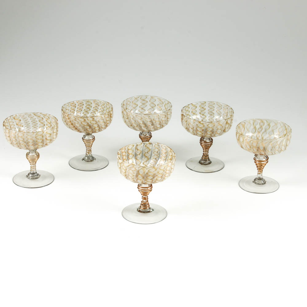 Set of Six Antique Venetian Lattimo Glass Champagne Coupes