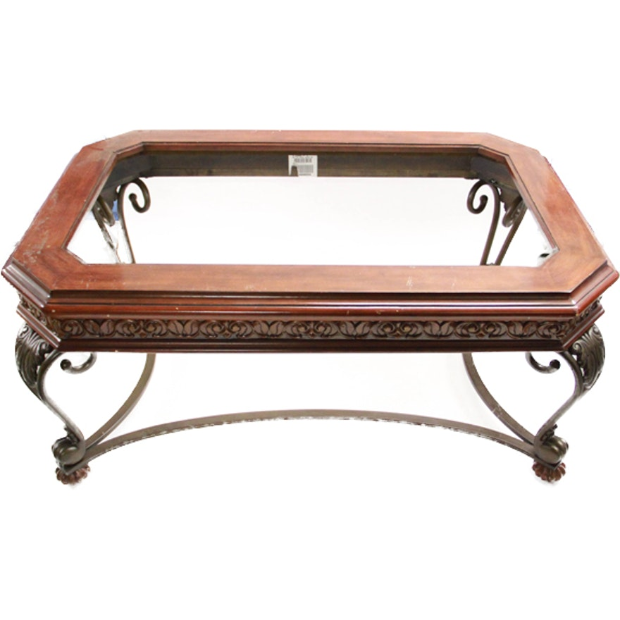Scrolled Metal And Wood Coffee Table With Gl Top