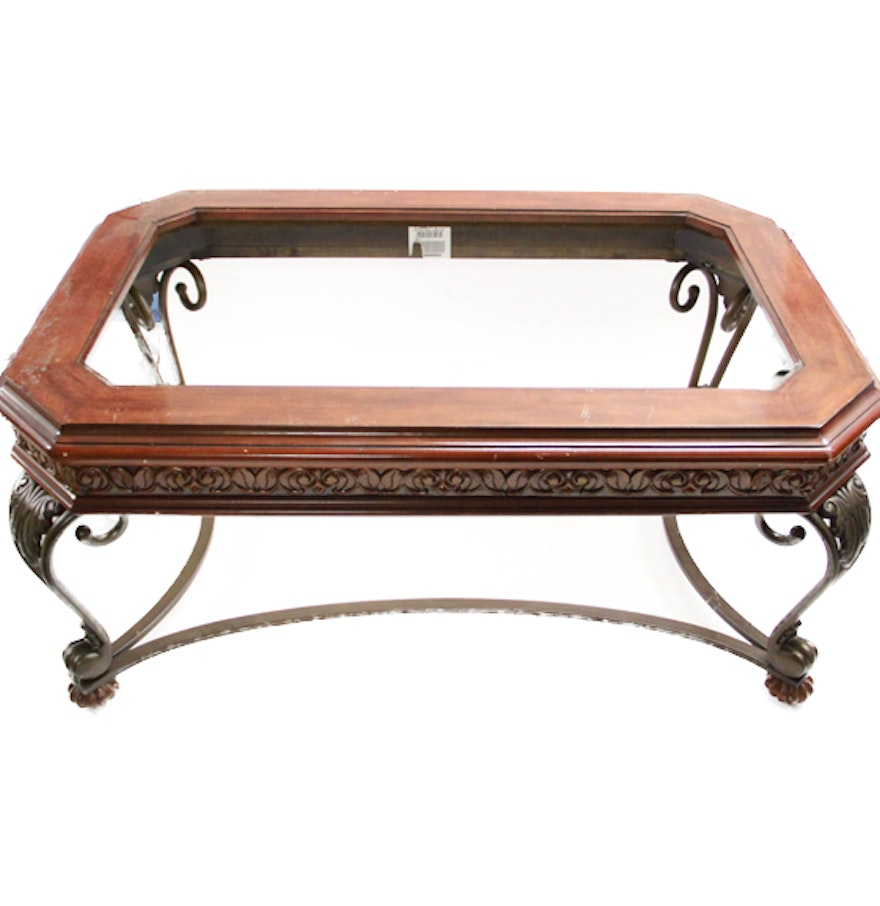 Scrolled metal and wood coffee table - Scrolled Metal And Wood Coffee Table With Glass Top
