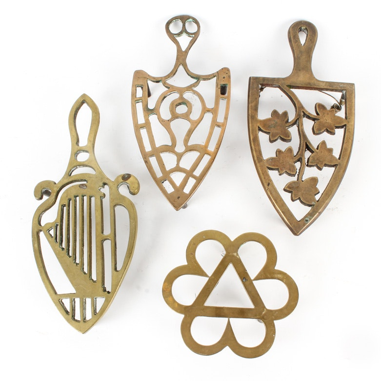 Collection of Vintage Brass Trivets