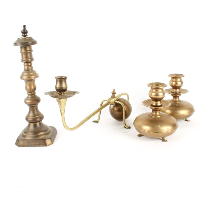 Collection of Vintage Brass Candlesticks