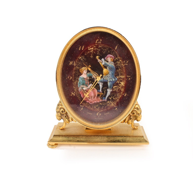 Decorative 15 Jewel Swiss Mantel Clock