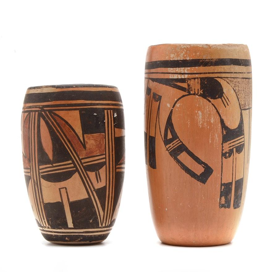 Hopi Style Tall Pottery Vases Ebth