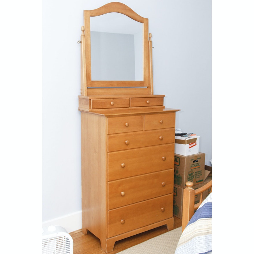 Tall Maple Dresser With Mirror By Moosehead Furniture