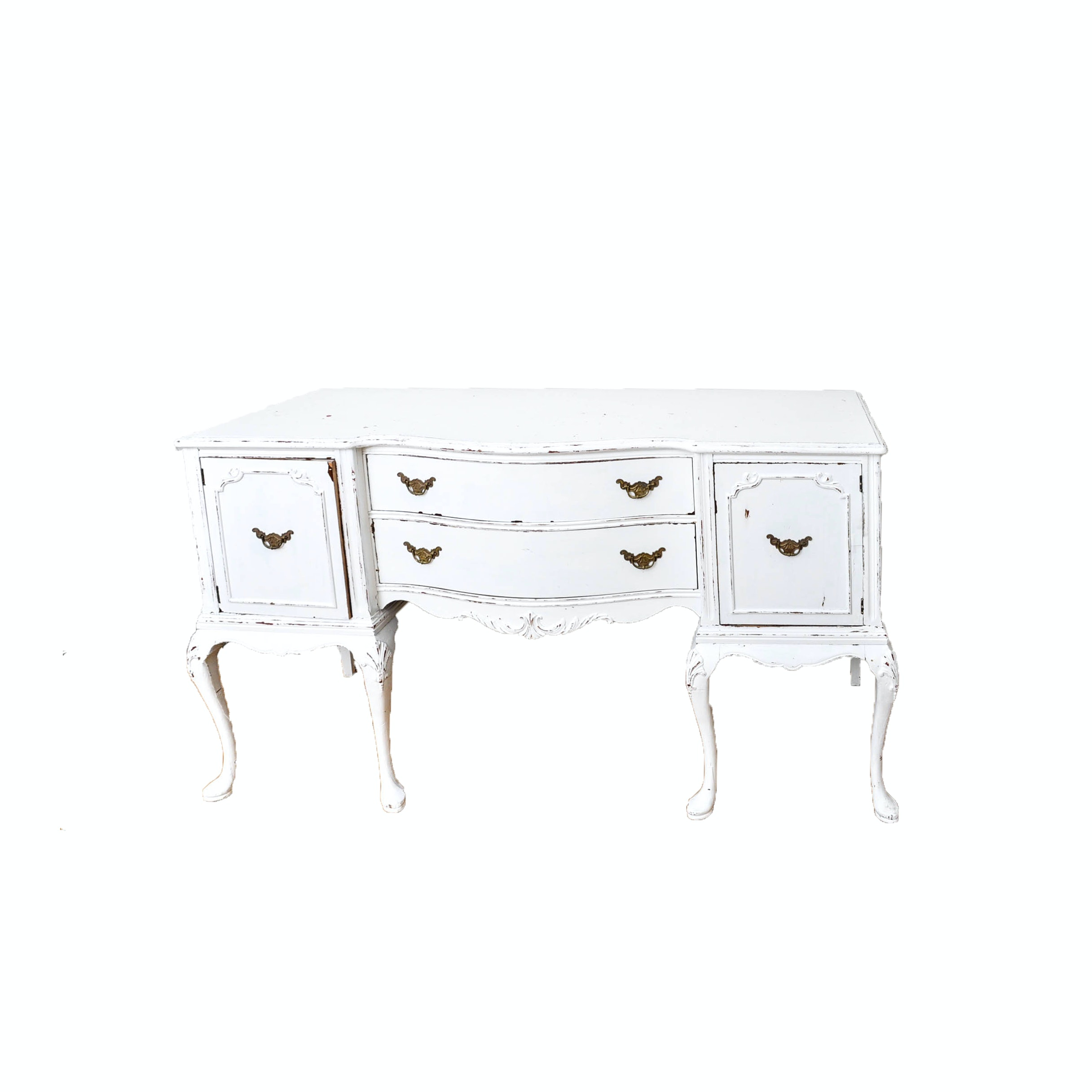 White Painted Queen Anne Style Sideboard