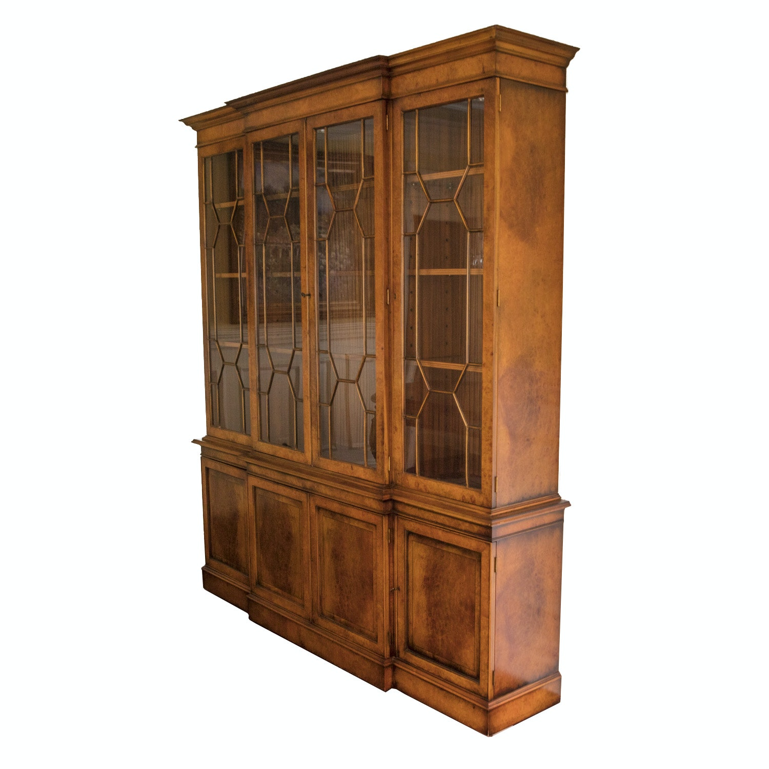 Breakfront China Cabinet With Burled Veneer