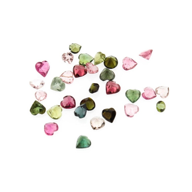 Loose 5.79 CTW Heart Shaped Natural Tourmaline Stones