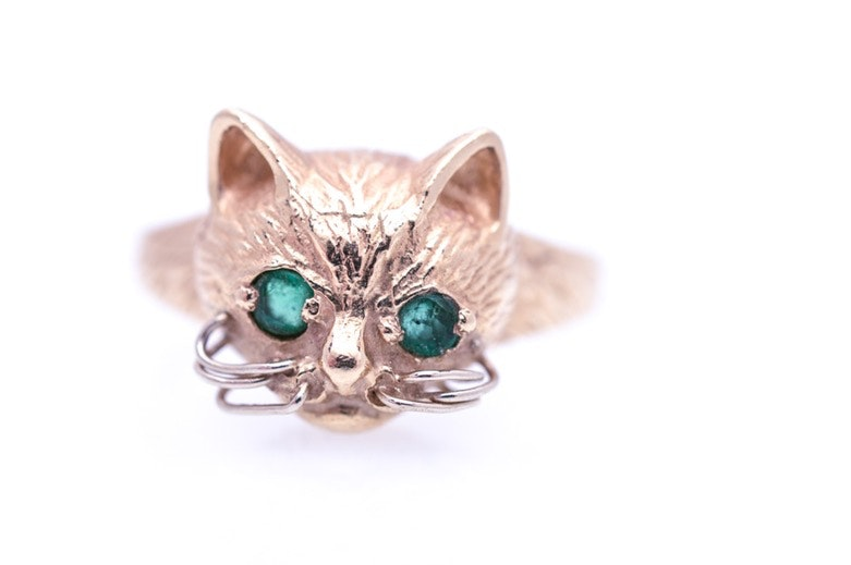 14K Yellow Gold and Emerald Kitten Ring