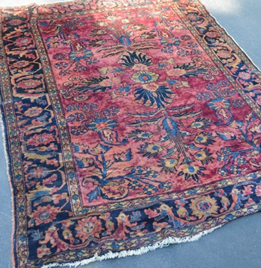Semi-Antique Hand-Knotted Wool Sarouk Area Rug : EBTH