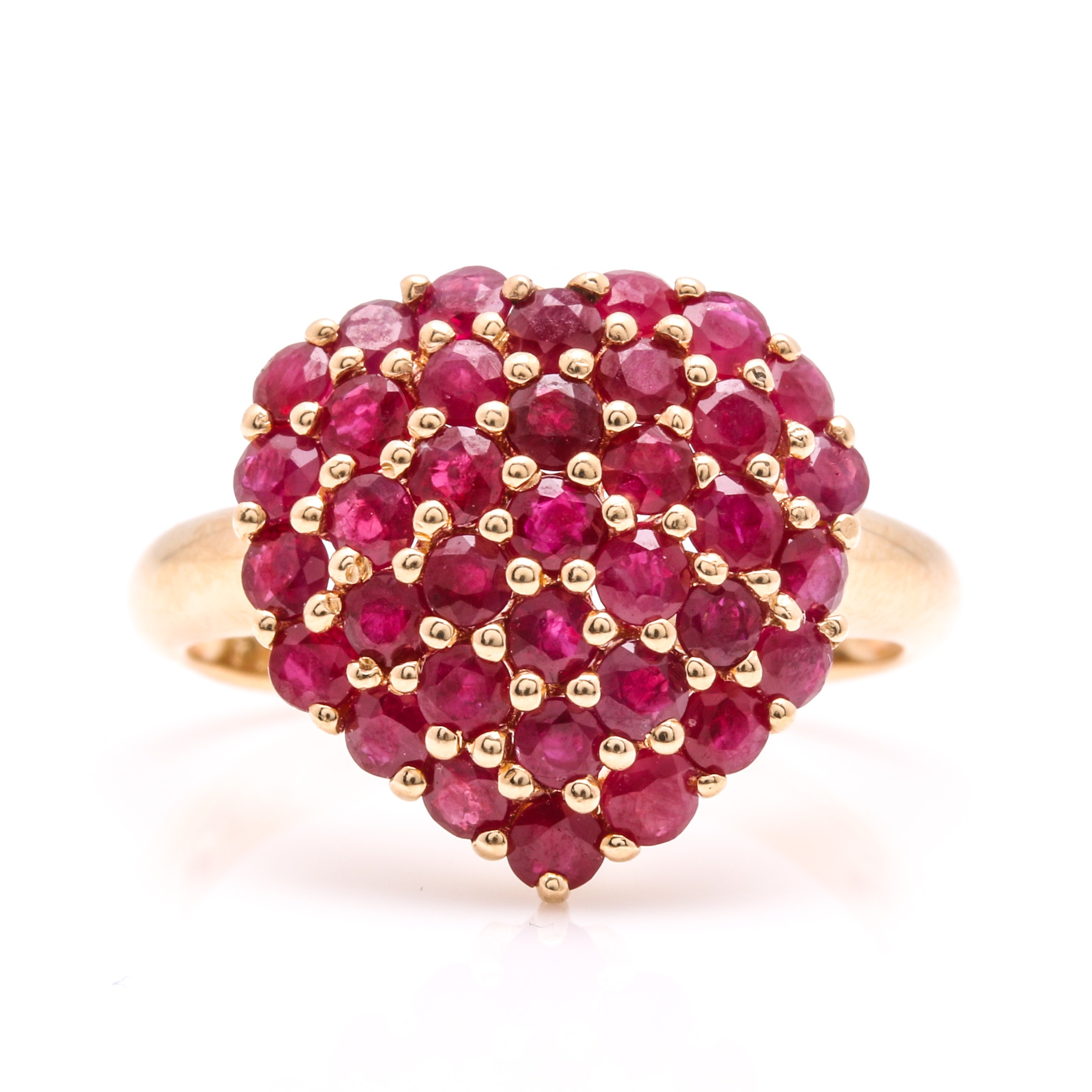 14K Yellow Gold Ruby Heart Cluster Ring EBTH
