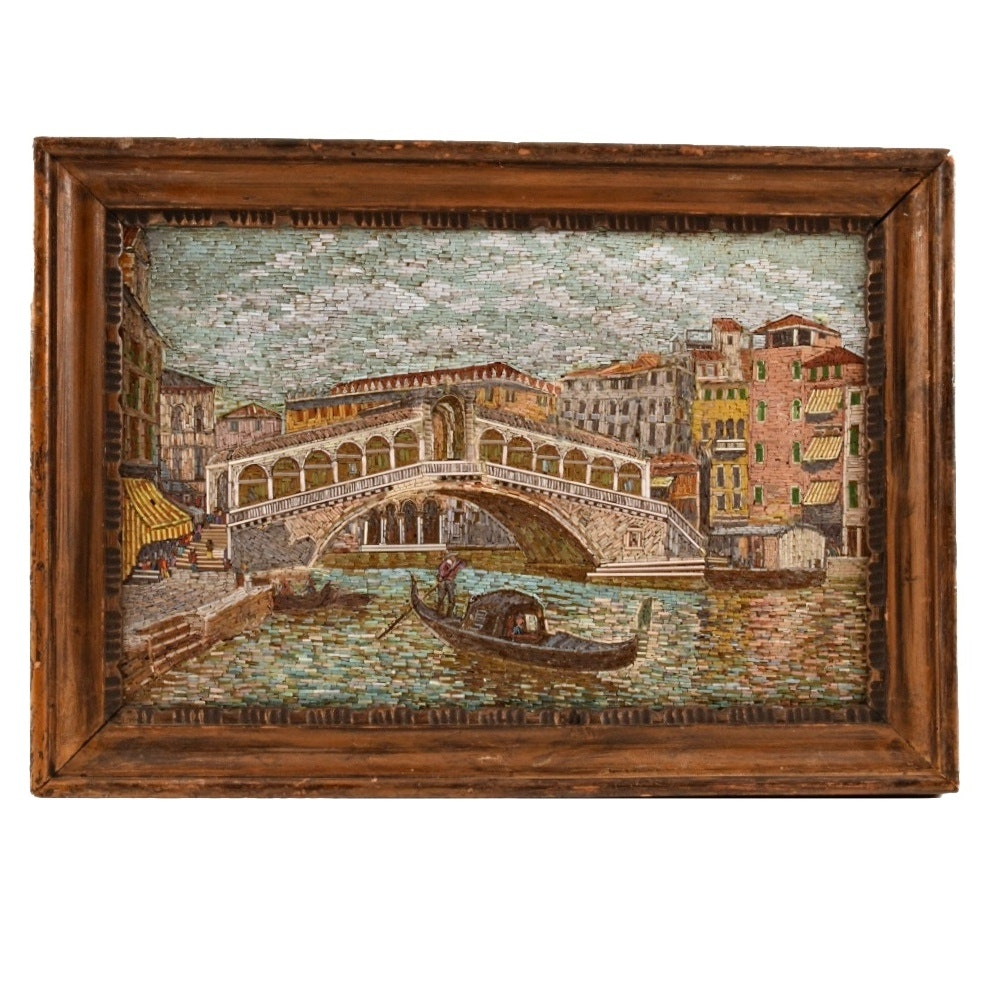 Exceptional 19th c. Micro Mosaic of the Ponte de Rialto, Venice