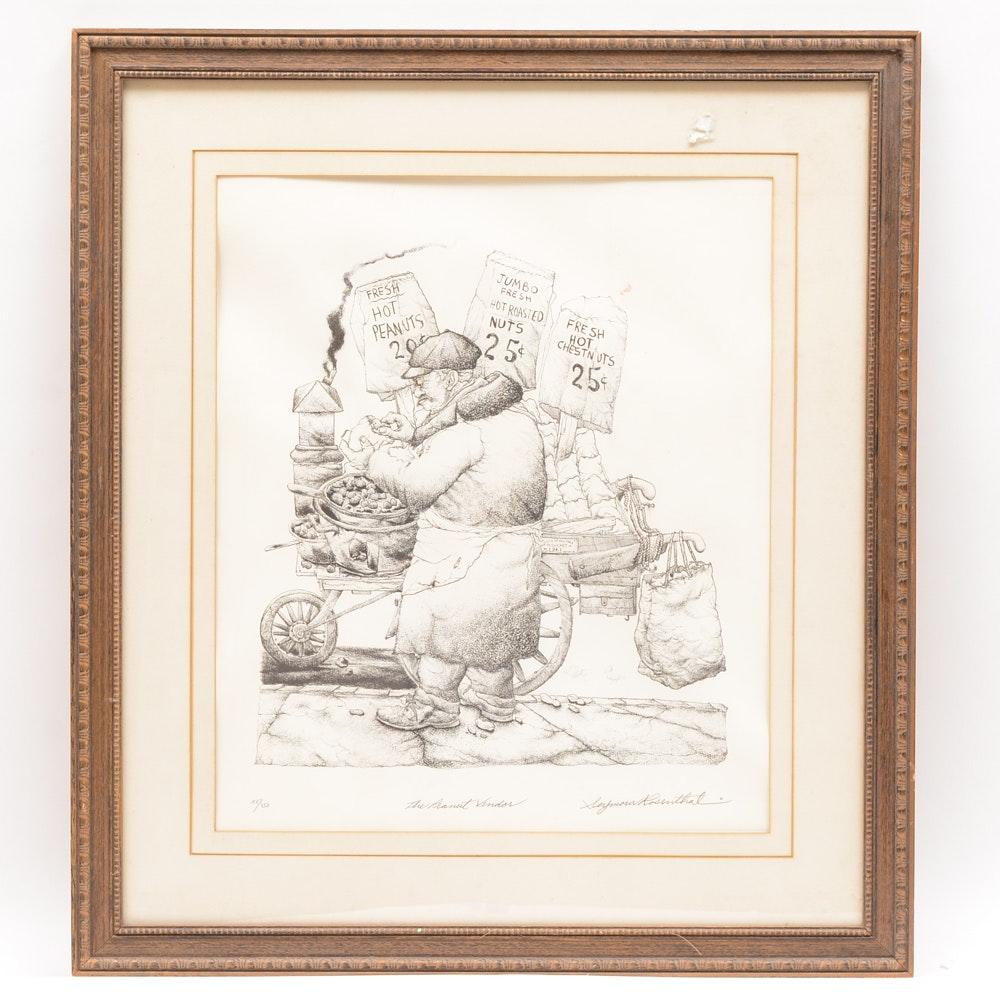 "Signed Seymour Rosenthal Limited Edition Original Lithograph ""The Peanut Vendor"""