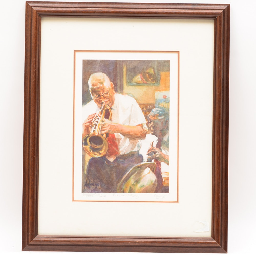 "Signed Ann deLorge Limited Edition Offset Lithograph ""Preserve That Jazz"""