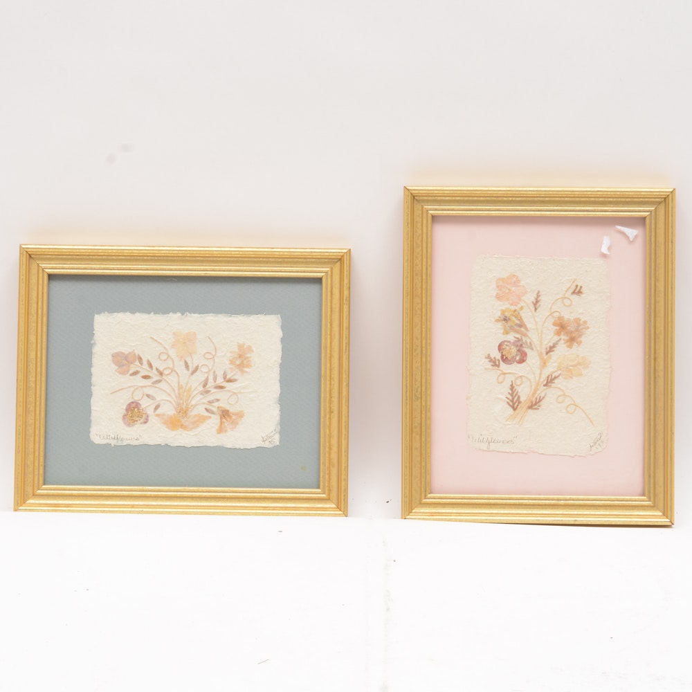 Pair of Signed and Framed Dried Wildflowers