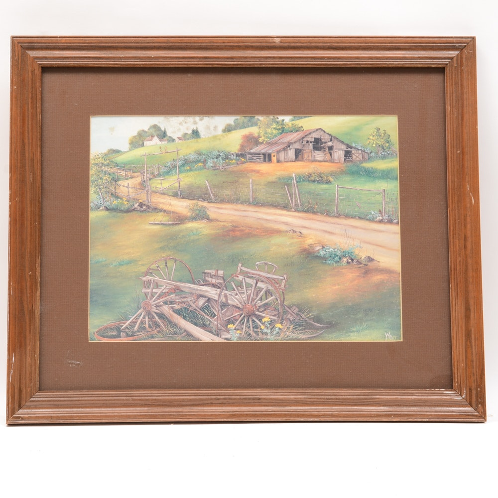 Countryside Landscape Offset Lithograph
