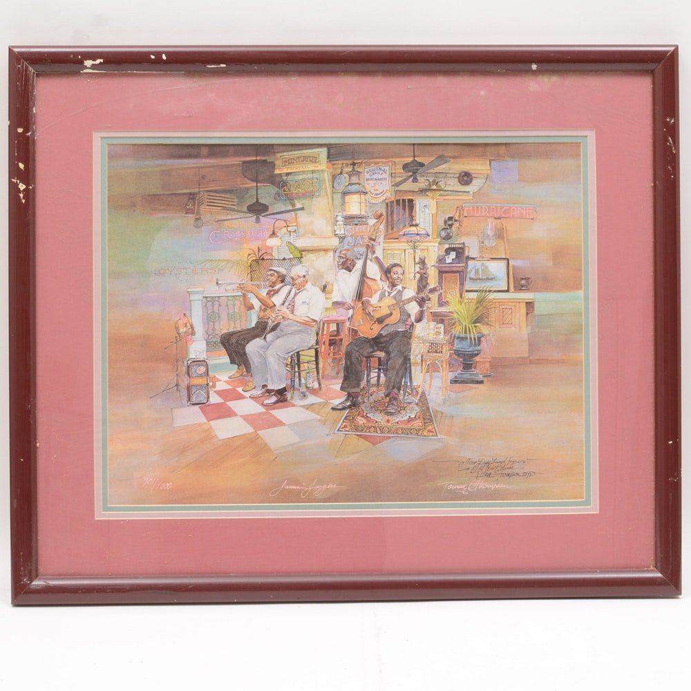 "Signed Tommy G. Thompson Limited Edition Offset Lithograph ""Jammin' Jazzers"""