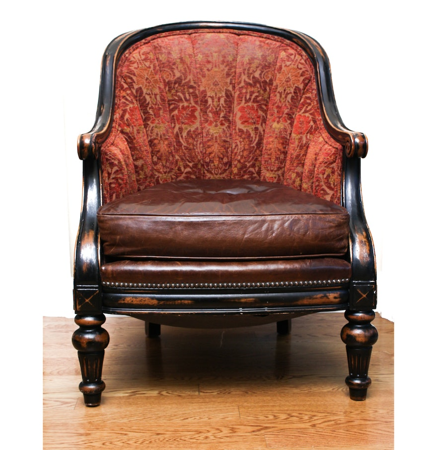 Antique barrel chair - Vanguard Furniture Leather And Brocade Upholstered Barrel Chair