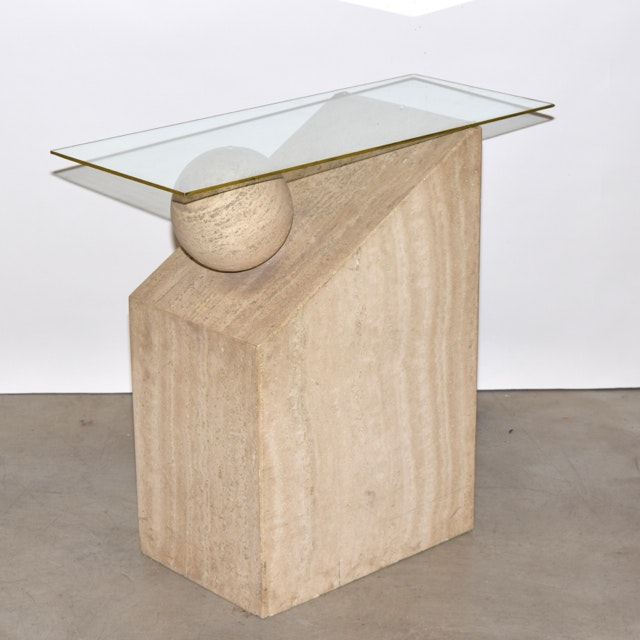 Carved Fossil Stone and Glass Side Table
