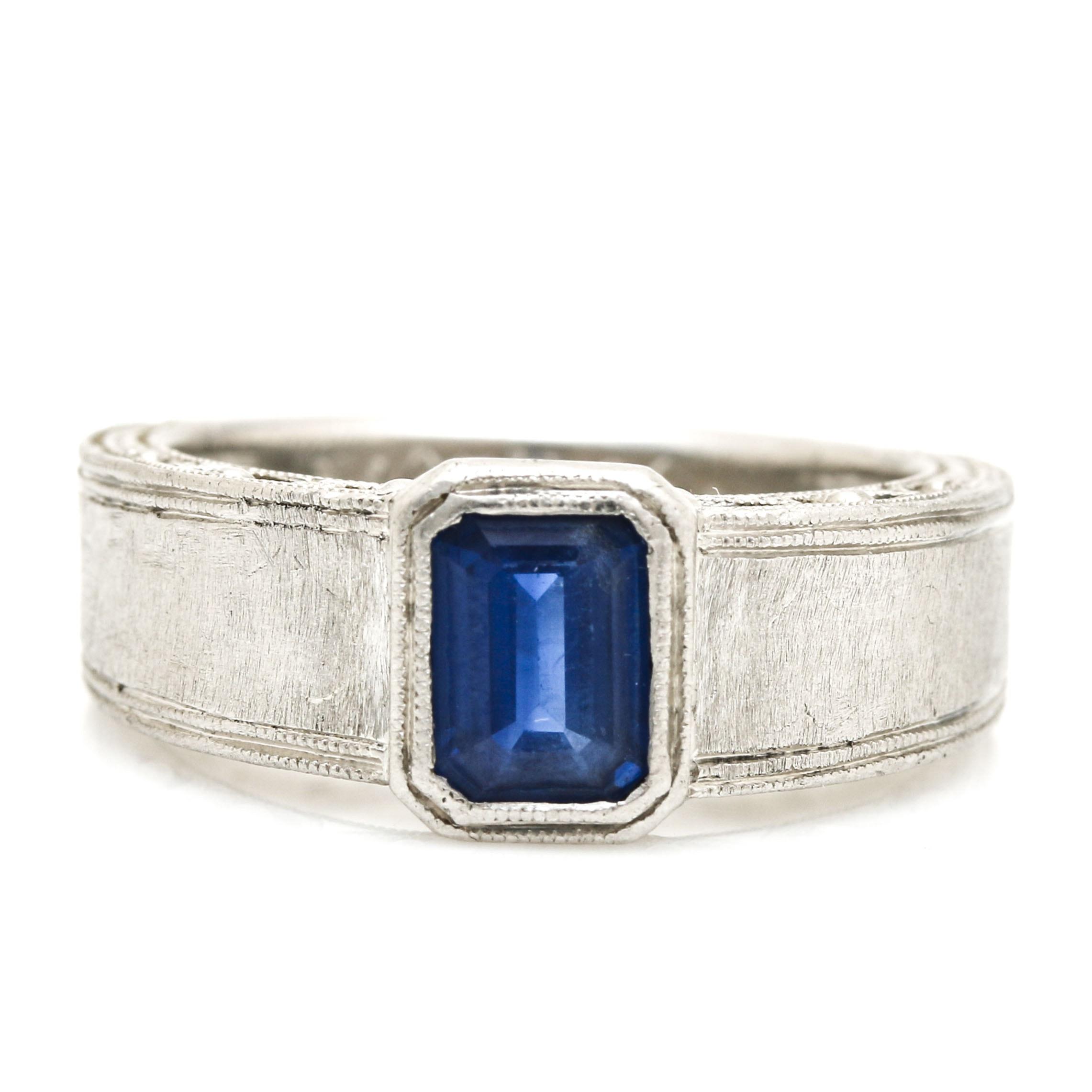 Platinum 1.15 CTS Sapphire Diamond Ring