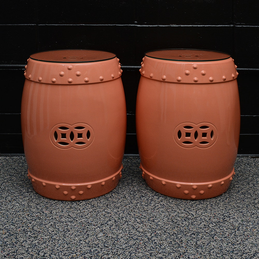 Asian Inspired Barrel Shaped Side Tables