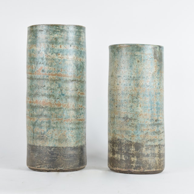 Wheel Thrown Terracotta Cylindrical Vases