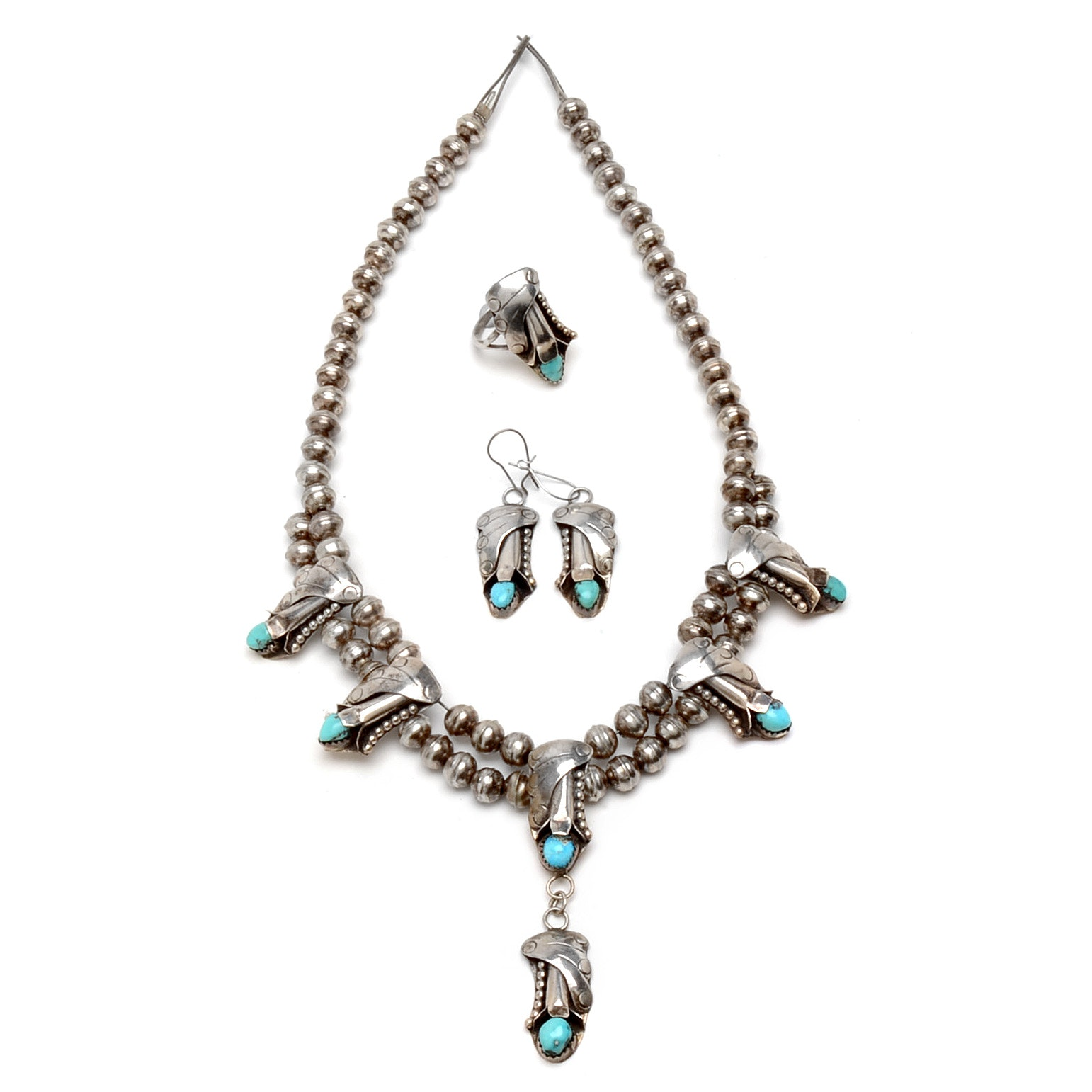 Benchmade Silver and Turquoise Necklace, Earrings and Ring Suite