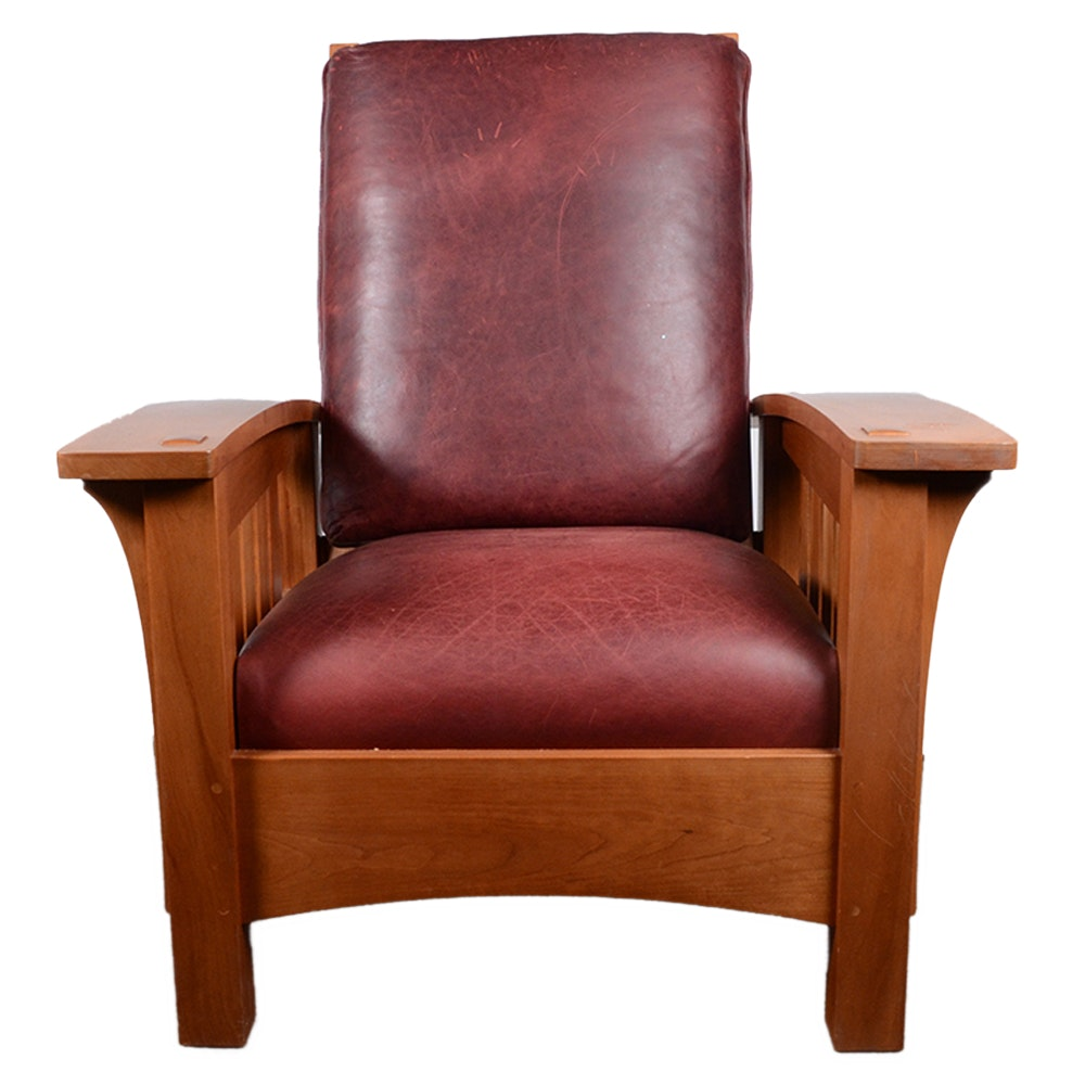 Mission Style Bow Arm Morris Chair and Ottoman from Stickley