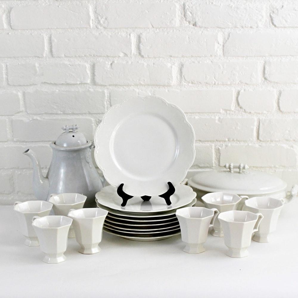 White Haviland and Ironstone Tableware