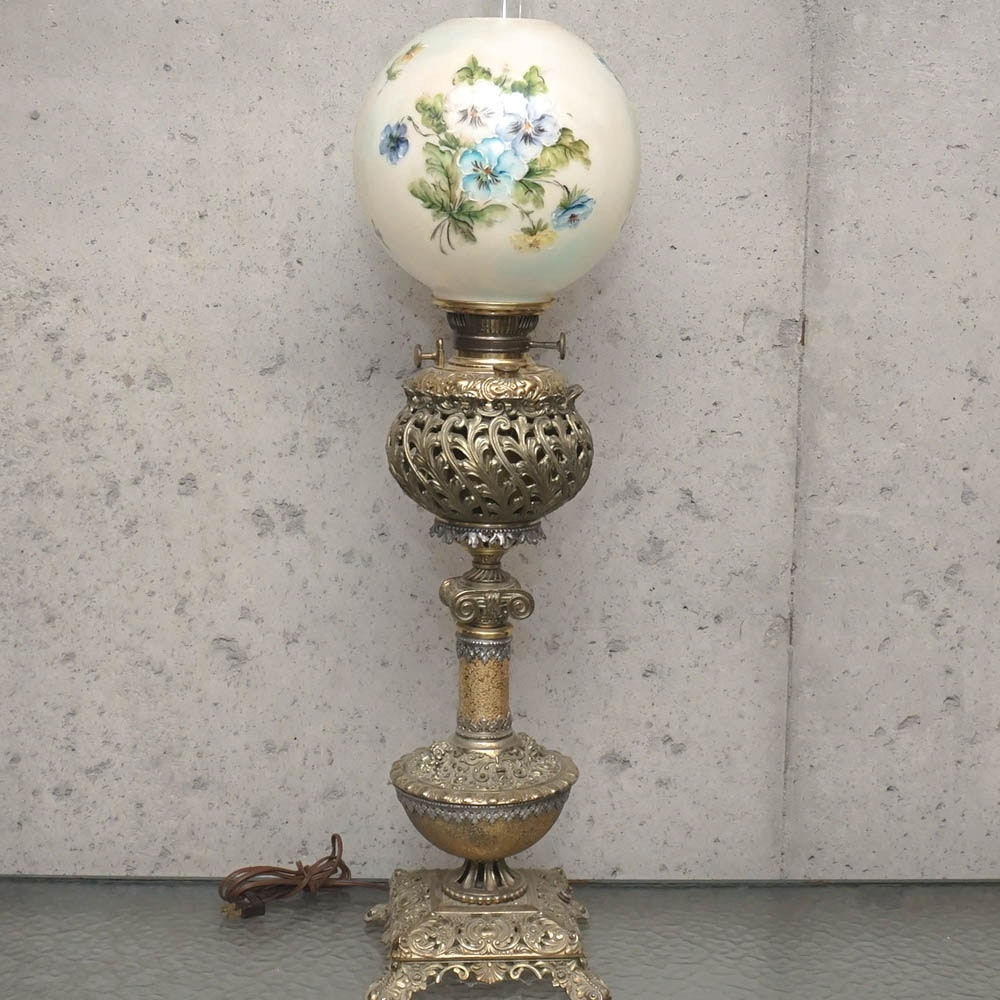 Vintage Brass and Hand-Painted Glass Table Lamp