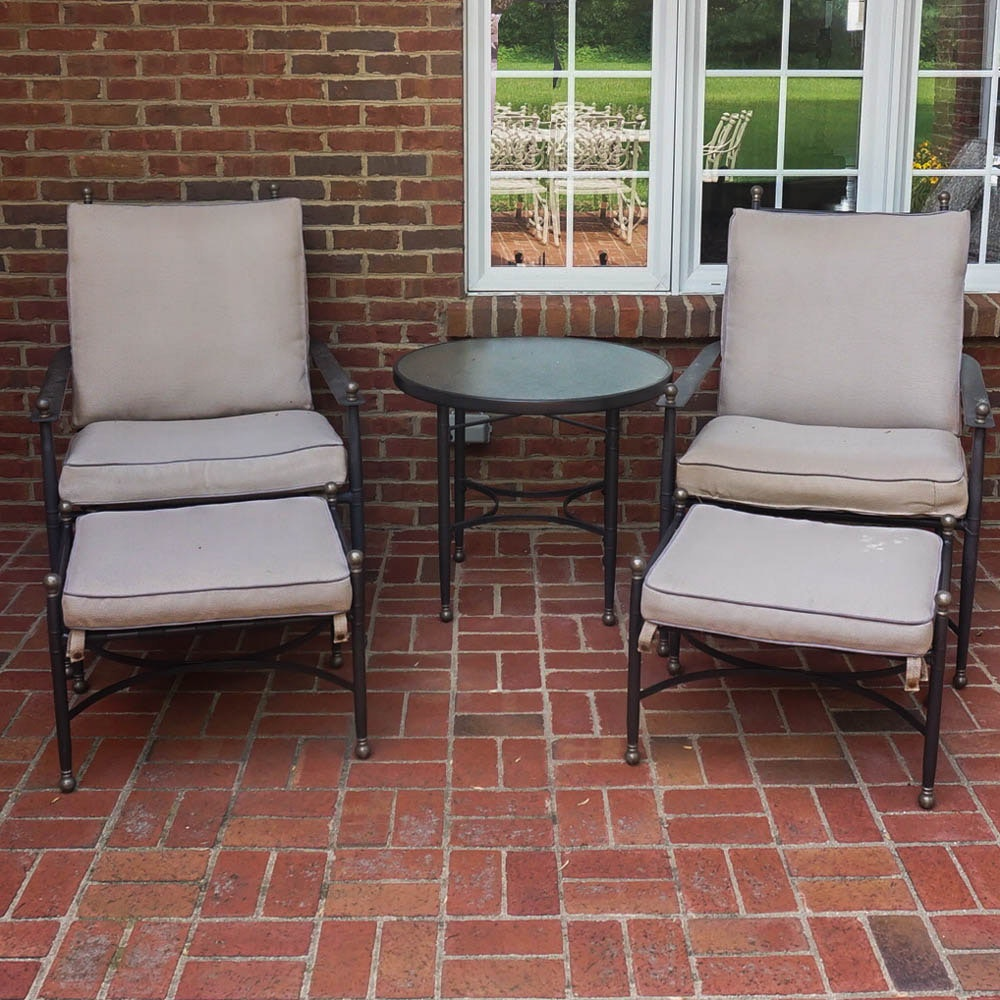 Patio Table, Chairs, and Ottomans With Water Resistant Upholstery