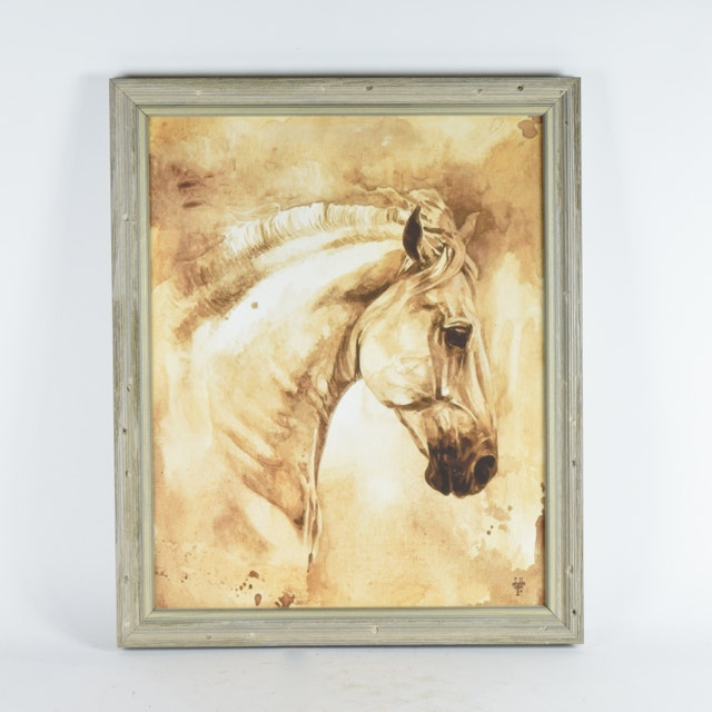 Offset Lithograph on Board of White Horse