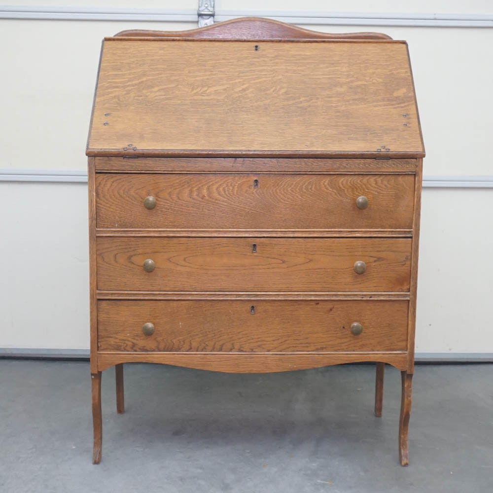 Vintage Oak Drop Front Secretary